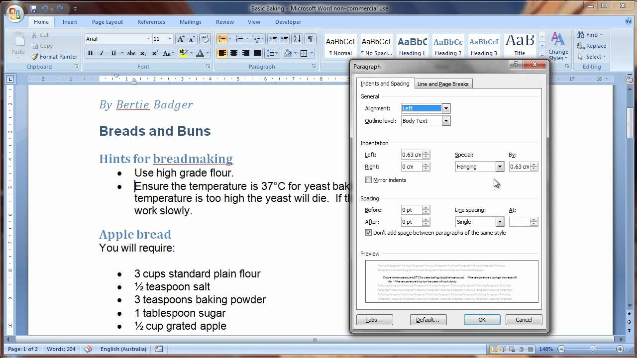 apply paragraph formatting in word 2007 youtube
