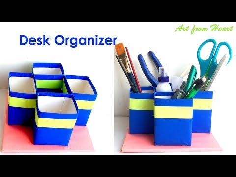 DIY - Desk Organiser/ Pen Stand/ Pencil Holder || Home Decor using Paper || Best out of Waste.