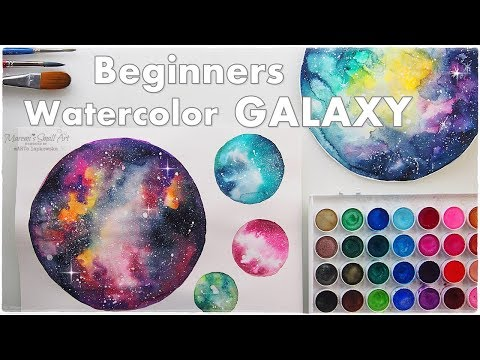 Two Ways Beginners Galaxy Planets Watercolor ♡ Maremi's Small Art ♡