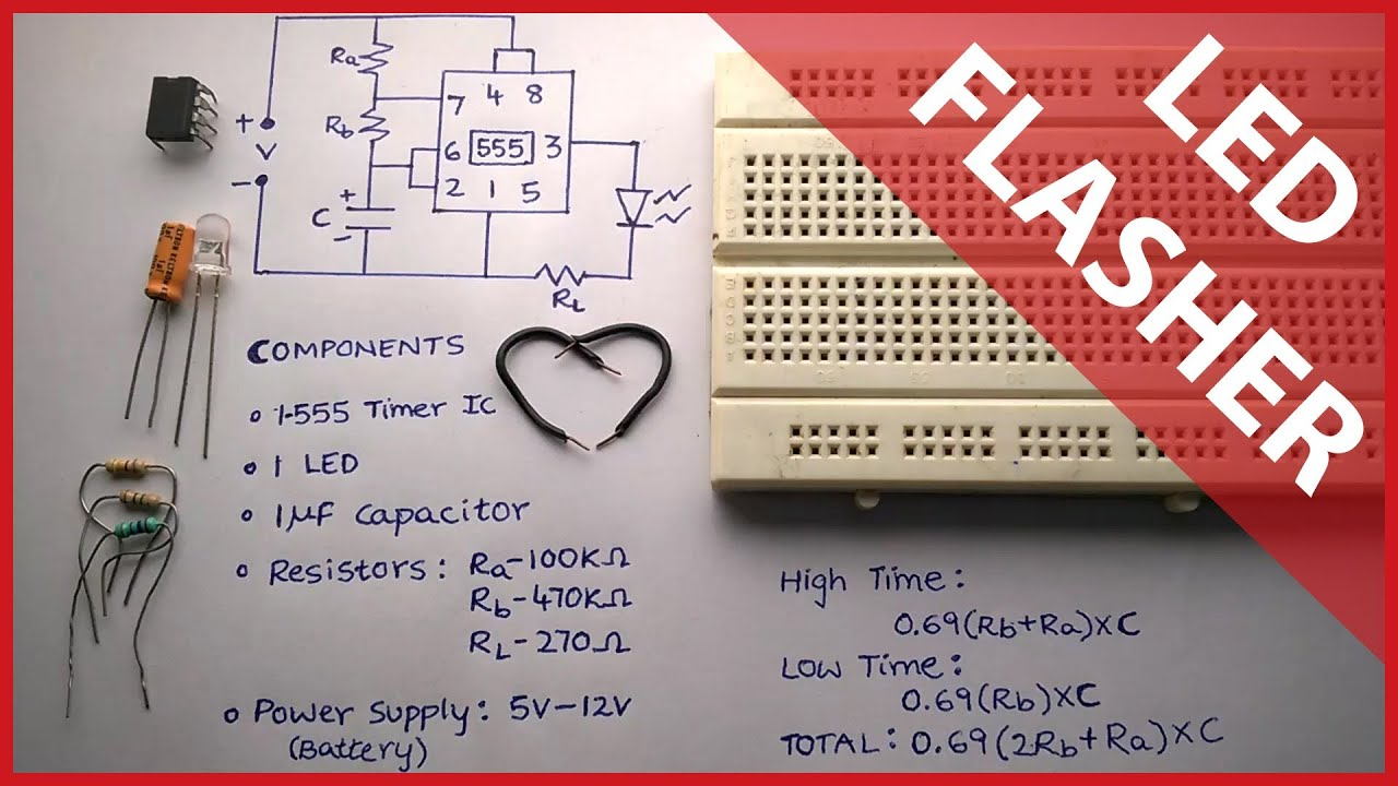 Flashing/Blinking LED Circuit using 555 timer - Elonics