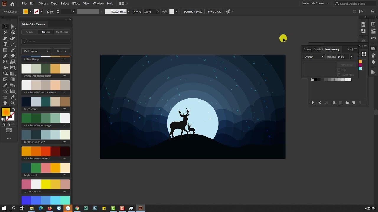 How to make a Animal Silhouette Moonlight [Vẽ một background đêm trăng]  illustrattor Tutorial #31
