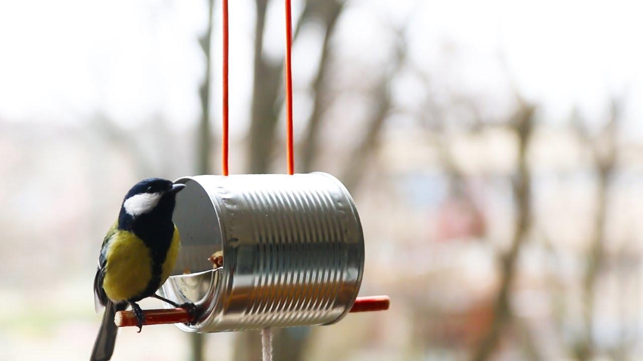 How to make a bird feeder youtube for Bird feed tin