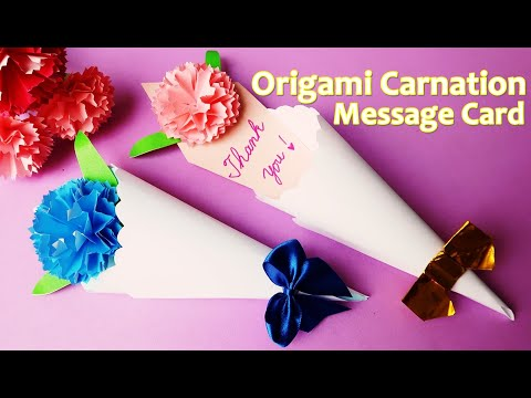 折り紙【カーネーション花束 メッセージカード】作り方 母の日・父の日に♪◇Origami paper craft \u201d flower message  card \u201d easy tutorial , YouTube
