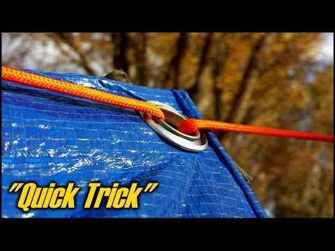 "How To Setup A Tarp Using No Knots - ""Quick Trick"""