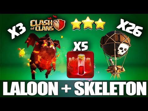 5 Skeleton Spell + TriLaLoon: NEW TH9 STRONG WAR ATTACK STRATEGY 2018 | LarryLalo : Clash Of Clans