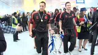 Chelsea returns to Heathrow with Champions League Trophy