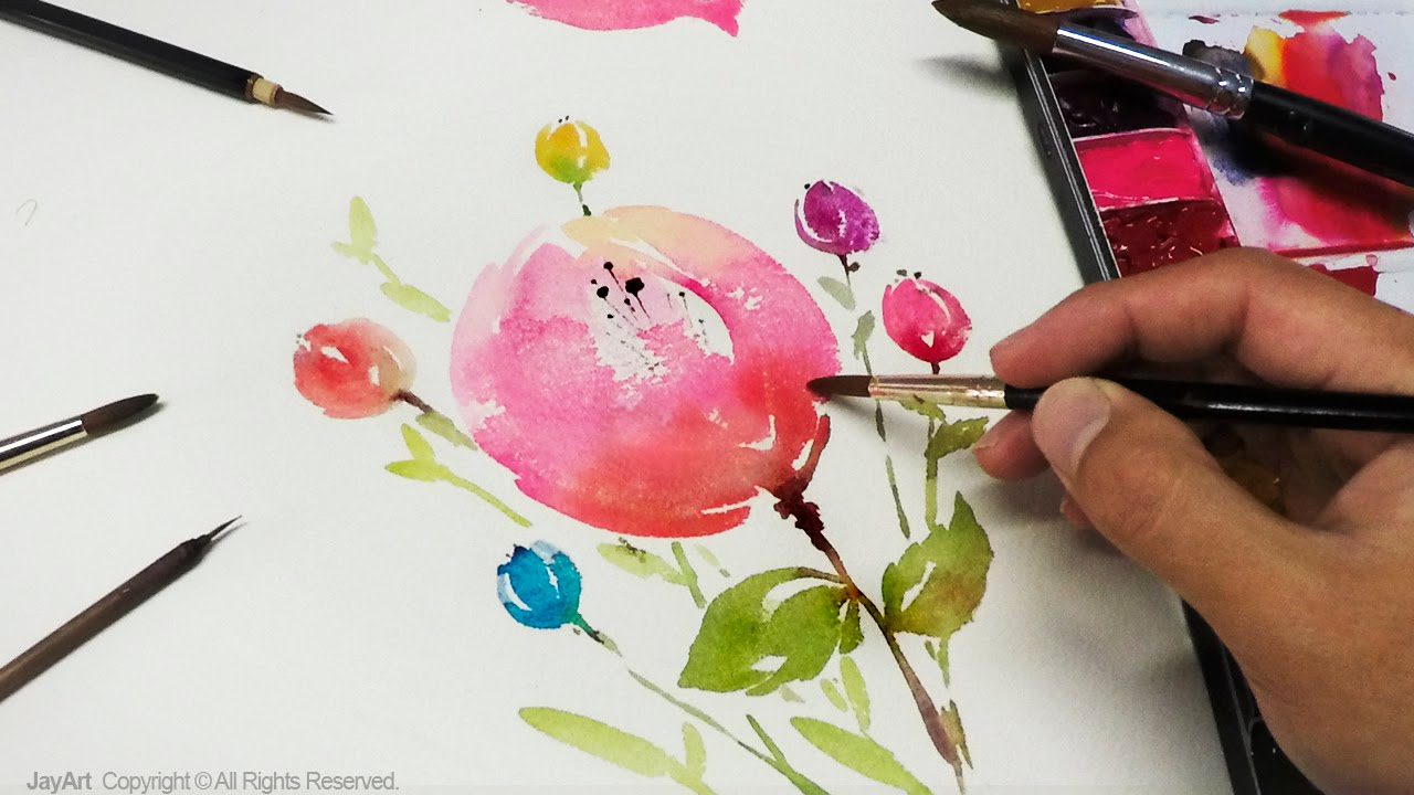 Watercolor Flowers And Paint Brushes: Mini Flowers Watercolor Painting 꽃그리기