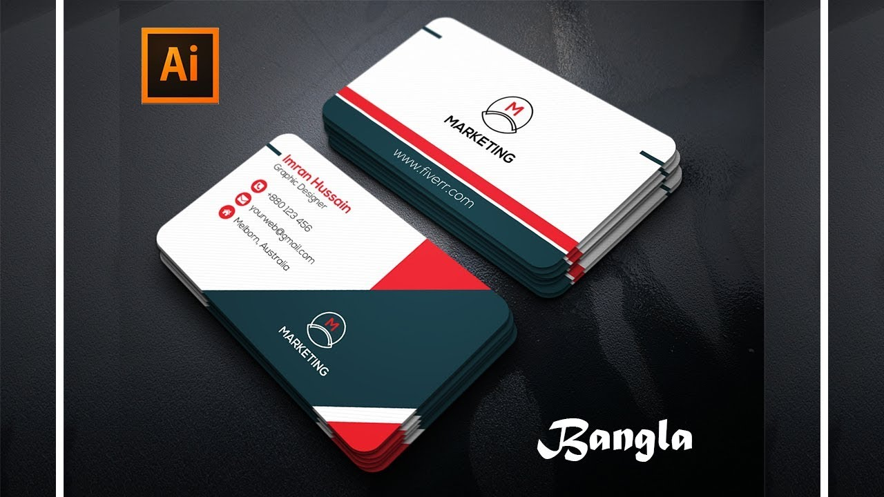 Professional Business Card Design in Adobe illustrator । A to Z ...