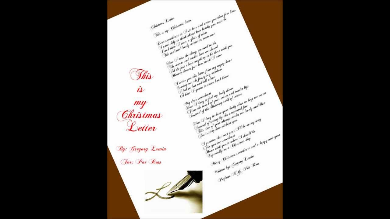 A Christmas Letter  Pat Ross  Youtube