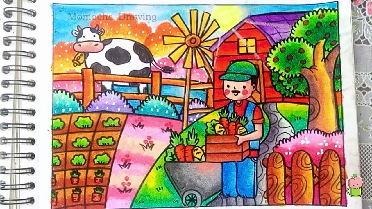 How To Draw And Color FARM Step By Step For Kids
