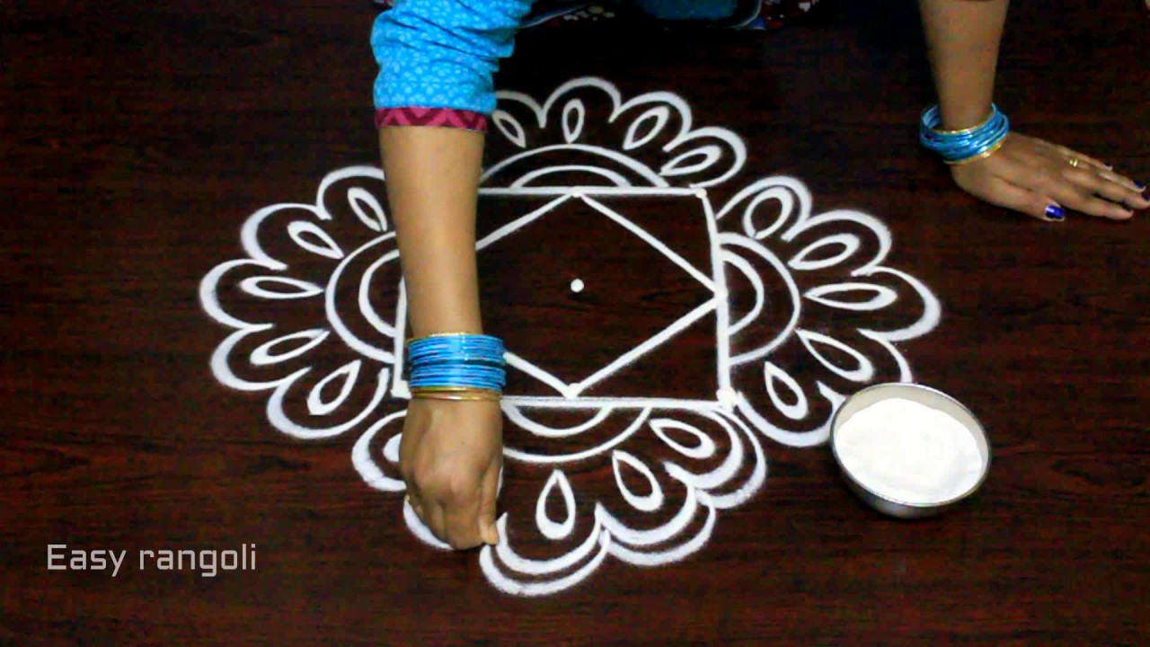 Creative easy rangoli designs with dots simple kolam for Creative simple