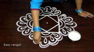 creative easy rangoli designs with dots || simple kolam designs || easy muggulu designs