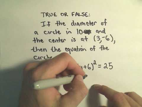The Center-Radius Form for a Circle - A few Basic Questions, Example 1