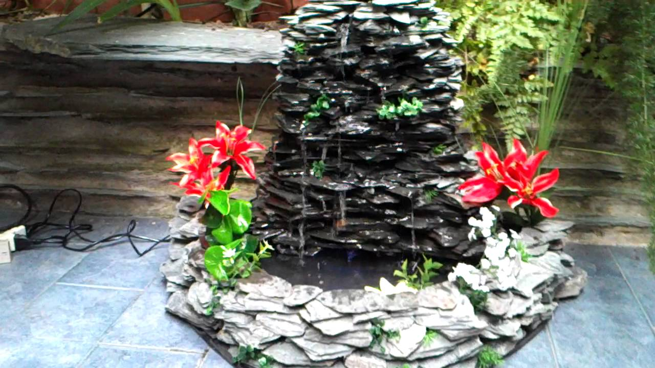 Cascada 50cm de alto en piedra laja youtube for Cascadas de piedra para jardin