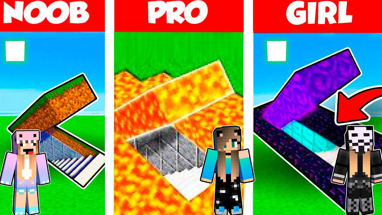 Minecraft Battle: UNDERGROUND BASE HOUSE BUILD CHALLENGE - NOOB vs PRO vs GIRL / Animation