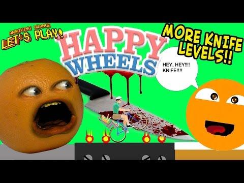 Annoying Orange Plays HAPPY WHEELS: MORE Knife Levels!!