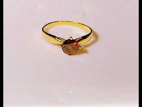 Natural cognac red diamond Solitaire ring 22k / 916 solid gold engagement Wedding ring