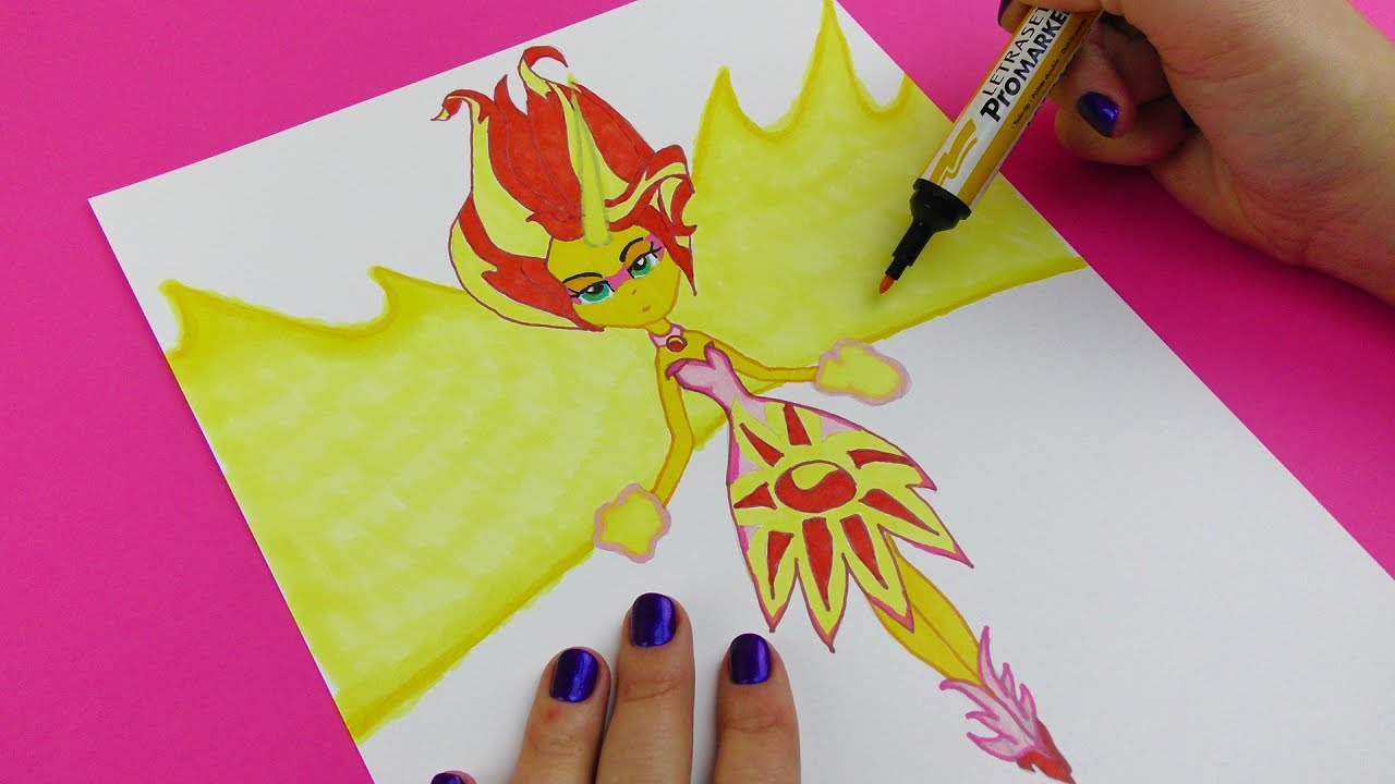 My Little Pony DIY How to Draw Sunset Shimmer Daydream ...
