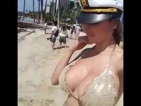 sexy big boob girl on beach