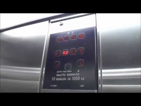 1987 Very fast KONE M buttons Traction elevators @ Kluuvi