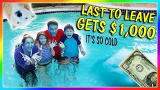 LAST TO LEAVE FREEZING POOL WINS $1,000 | We Are The Davises