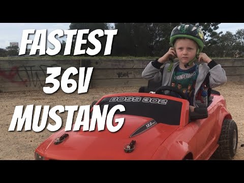 Fastest 36v Modified Power Wheels Mustang Drifting.Best Electric ride on car for kids.