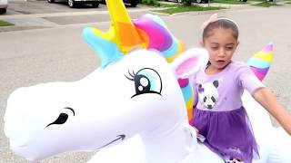 Kids Pretend Play with Inflatable Giant Unicorn and Chocolate Truck...