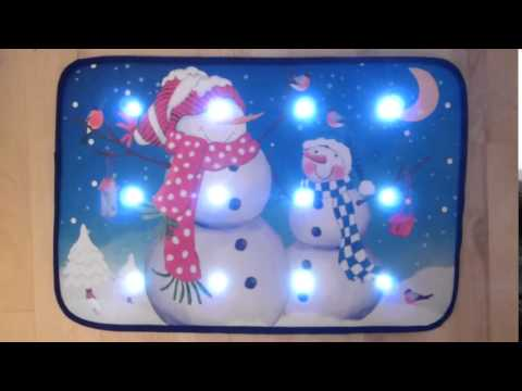 Snowmen Musical Christmas Door Mat With LED Lights 60 x 40cm Indoor Decoration