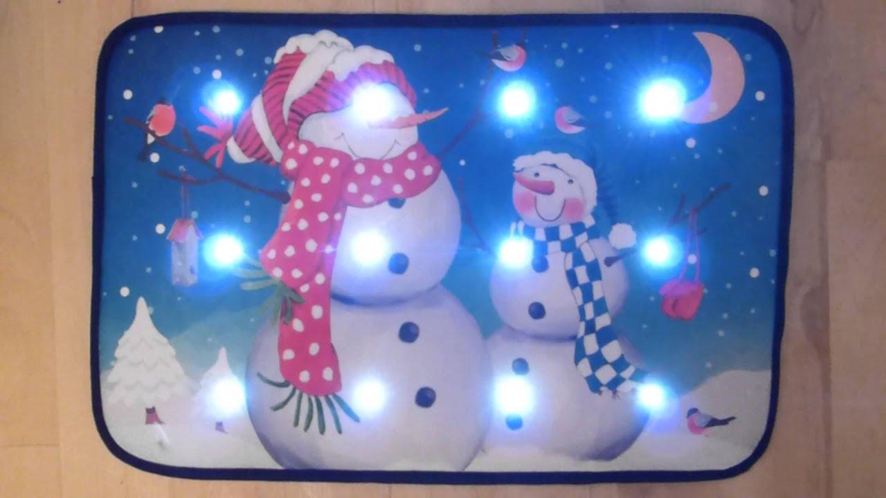 Snowmen Musical Christmas Door Mat With Led Lights 60 X