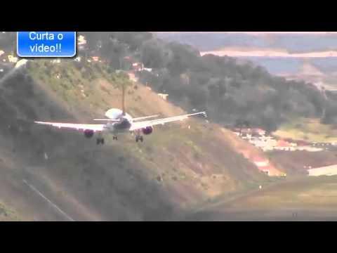 Aviao Pousa De Lado Na Ilha Da Madeira Youtube