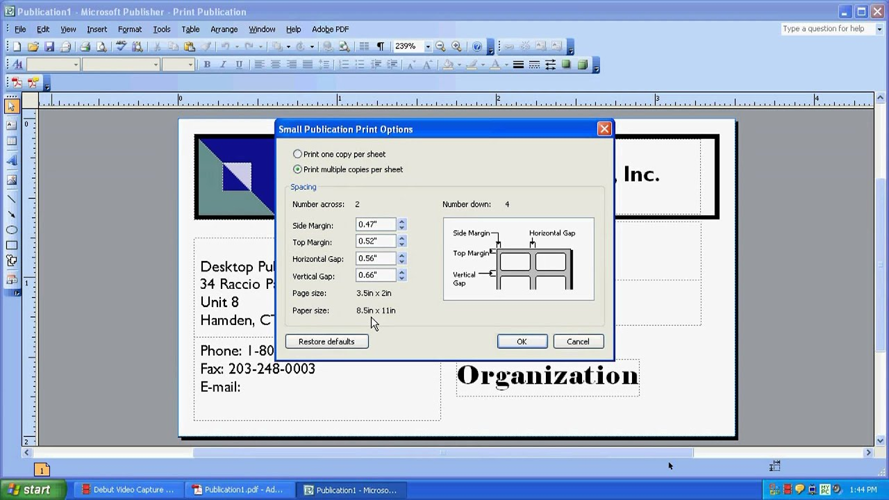 Printing on a Multi-Card Layout in Microsoft Publisher - YouTube