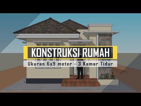 konstruksi rumah 6x9 meter 3 kamar - youtube