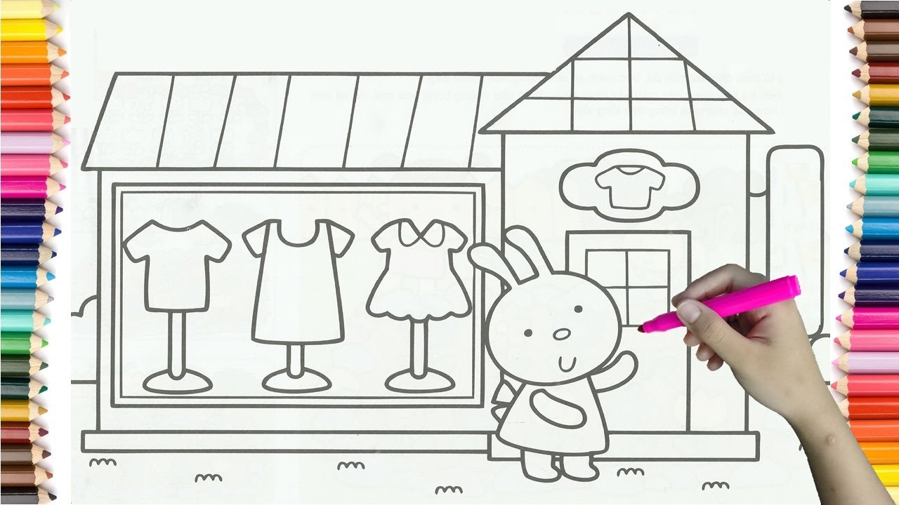 How To Drawing Clothing Store Of Rabbit Colorful For Kids