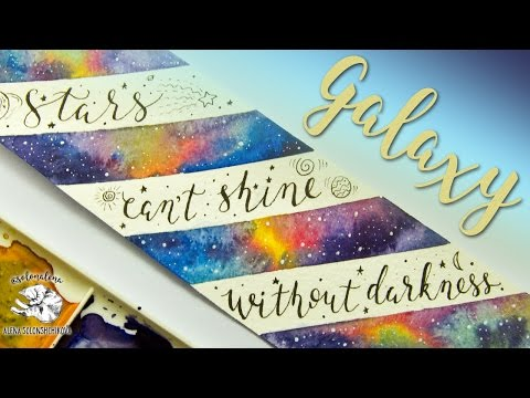 Cosmic Bookmark with Tiny Galaxies | Watercolor Painting & Lettering