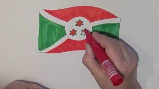 Learn geography for kids How to draw a flag Burundi