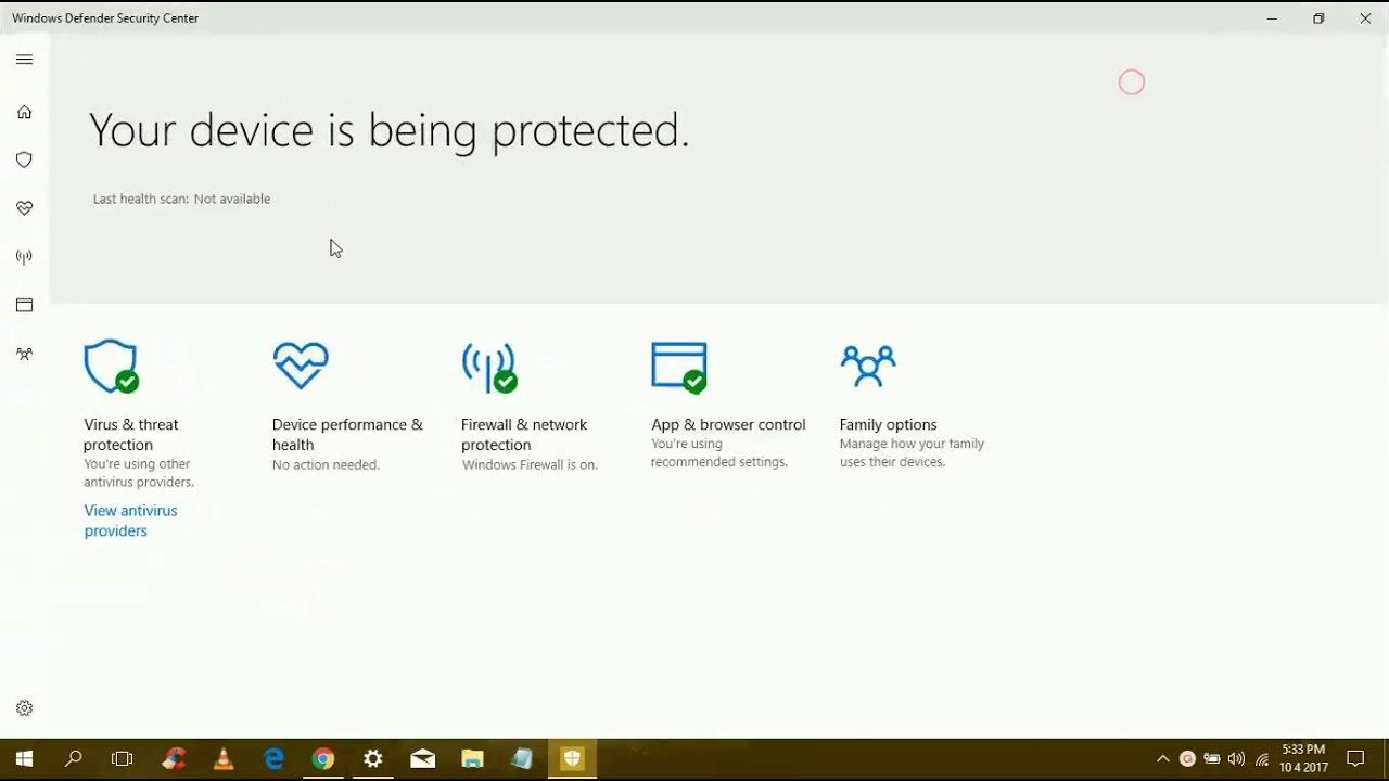 windows defender turn off family options