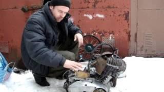 """Мотор для минитрактора - Иж Планета??  Да!! Зимний запуск с """"земли""""!!"""