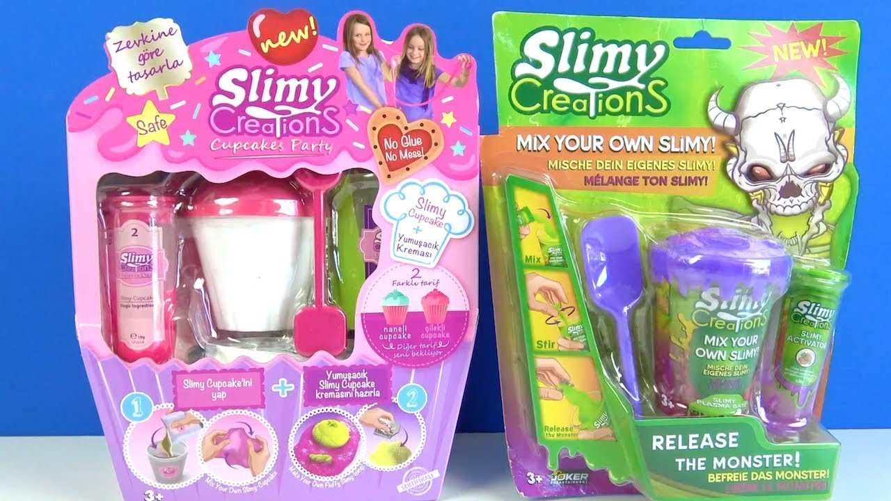Slimy Creations Cupcakes Party ve Slimy Creations Release The Monster Slimy kolay kendin yap videosu