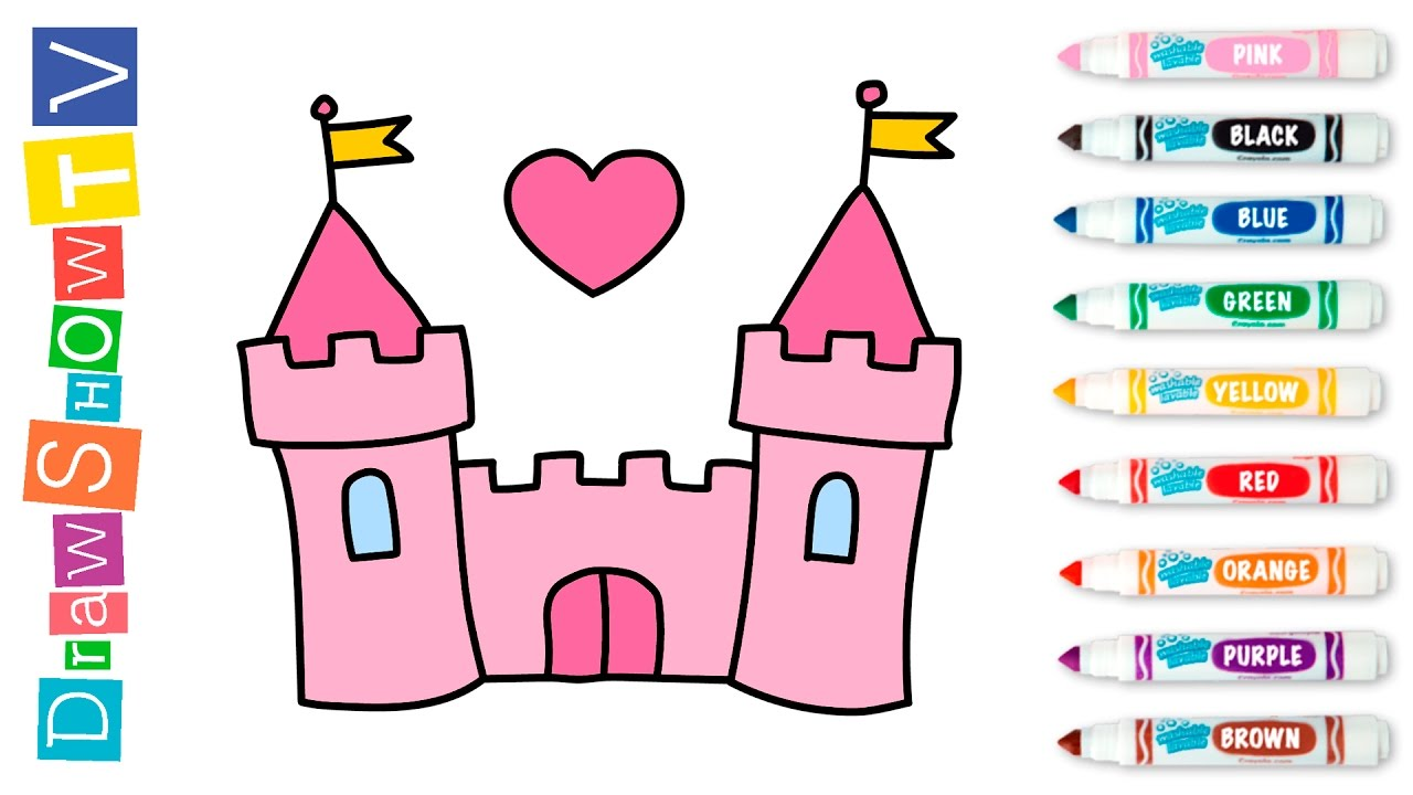 How to Draw Castle Disney Princesses Coloring Pages House Coloring ... | 720x1280