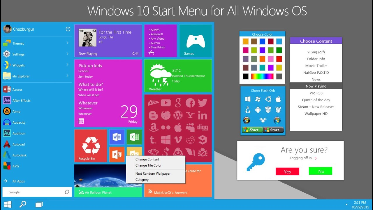Windows 10 Start Menu for all Windows OS (XP and Up) - YouTube