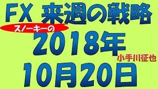 2018年10月20日時点での、来週の為替予測とスノーキー(小手川征也)のFX...