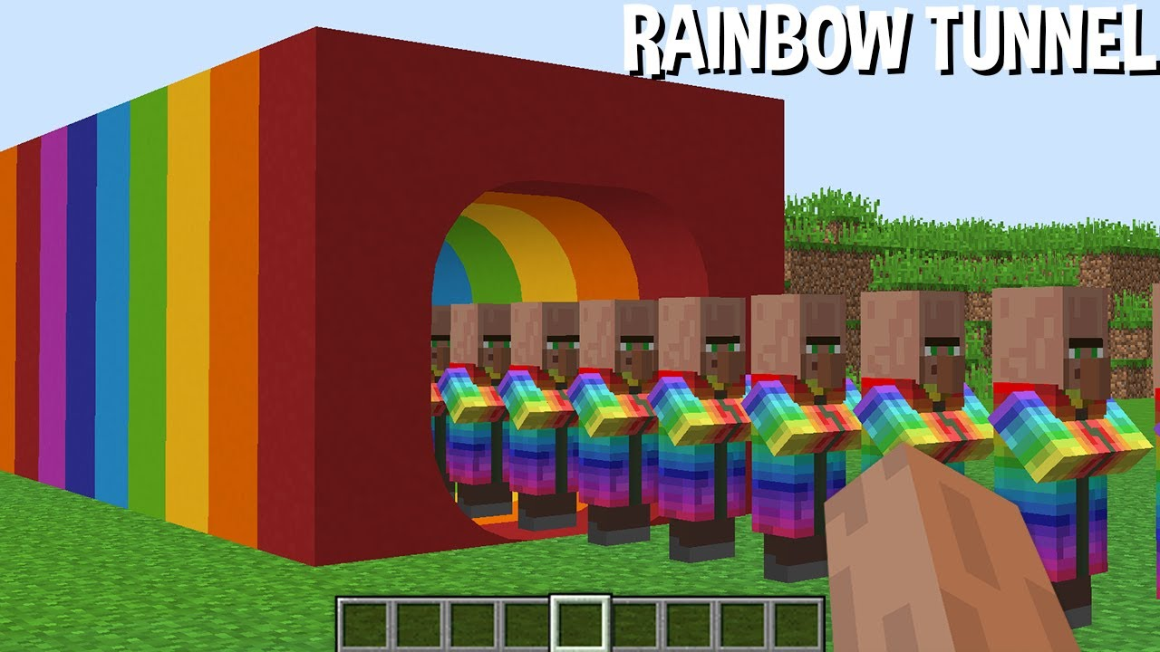 WHERE did RAINBOW VILLAGER come FROM in RAINBOW TUNNEL in Minecraft ? STRANGEST PASSAGE !