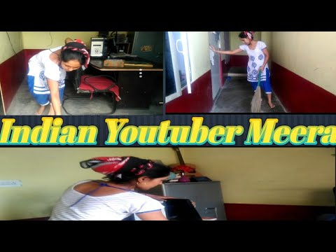 My daily routine life,sweeping my house,Indian youtuber meera thumbnail