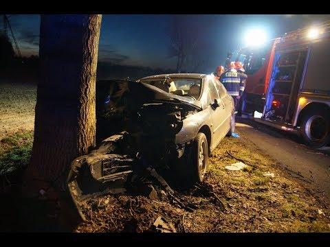 Peugeot rozbił się na drzewie