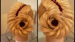 Коса Ёлочка + Объёмный цветок. Видео-урок.