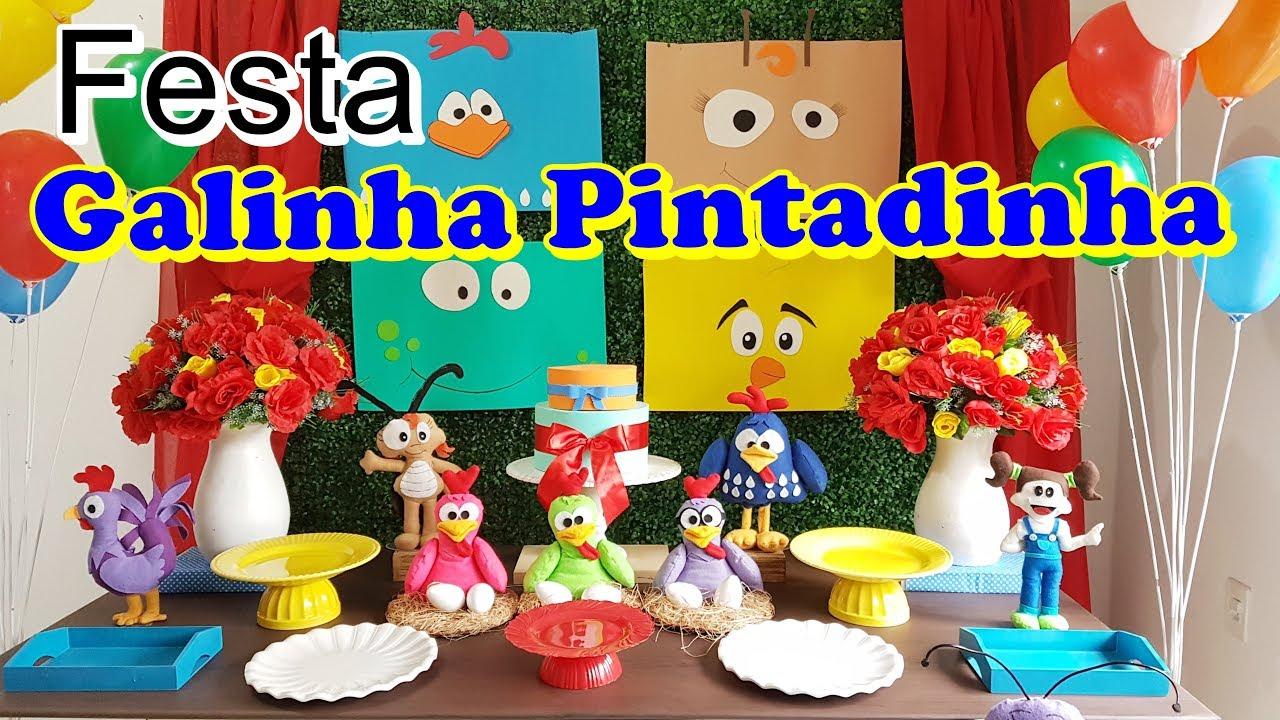 DECORA u00c7ÃO DE FESTA GALINHA PINTADINHA #outubroTODODIA YouTube -> Decoração Festa Infantil Galinha Pintadinha Simples