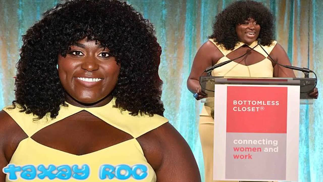 Danielle Brooks models canary yellow cocktail dress at NYC benefit ...