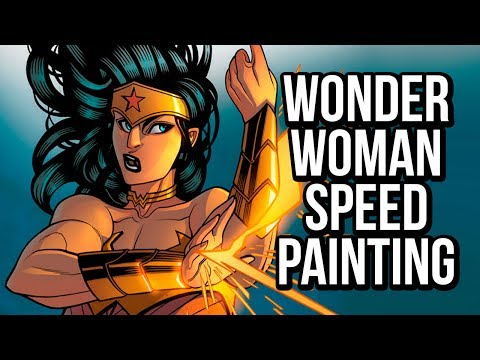Wonder Woman time-lapse painting: a Photoshop comic coloring tutorial!