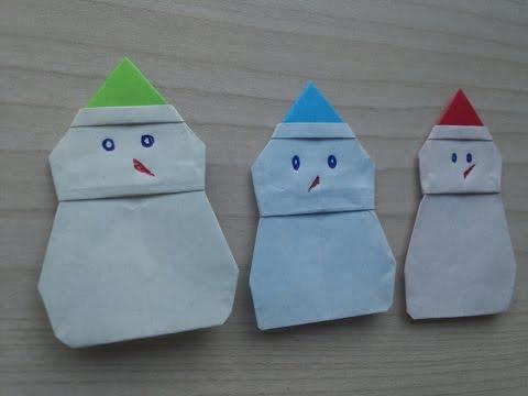 Origami - Hướng dẫn cách gấp NGƯỜI TUYẾT - NOEL