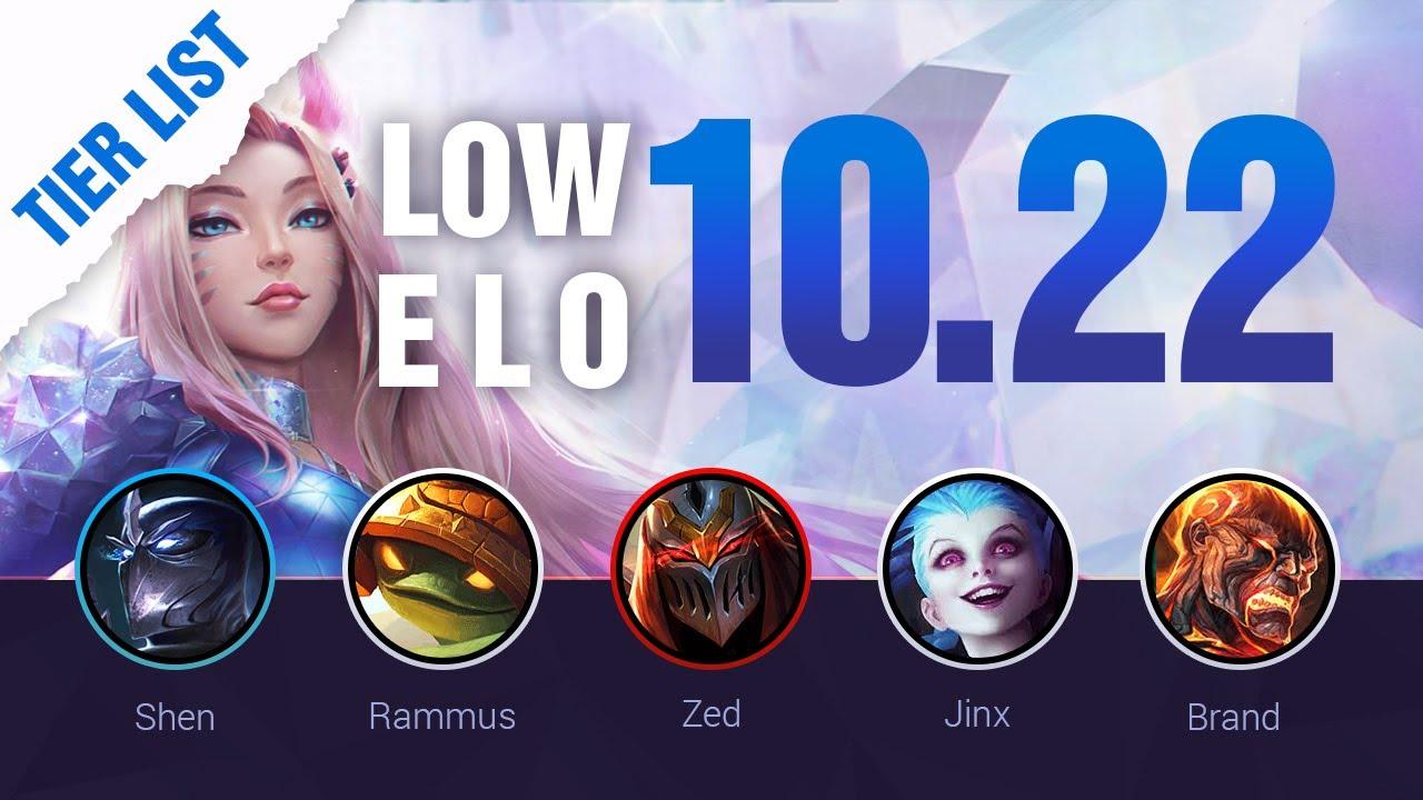 Low Elo Lol Tier List Patch 10 22 By Mobalytics League Of Legends Season 10 Youtube